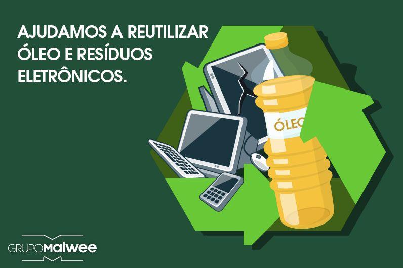 Entenda como ajudamos a reciclar resíduos eletrônicos e óleo de cozinha usado